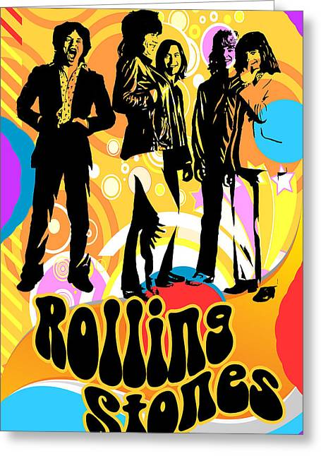 80s Mixed Media Greeting Cards - Rolling Stones Poster Art Greeting Card by Robert Korhonen