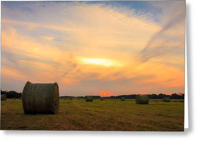 Sunset Prints Of Ireland Greeting Cards - Rolling the hay at sunset  Greeting Card by John Hurley