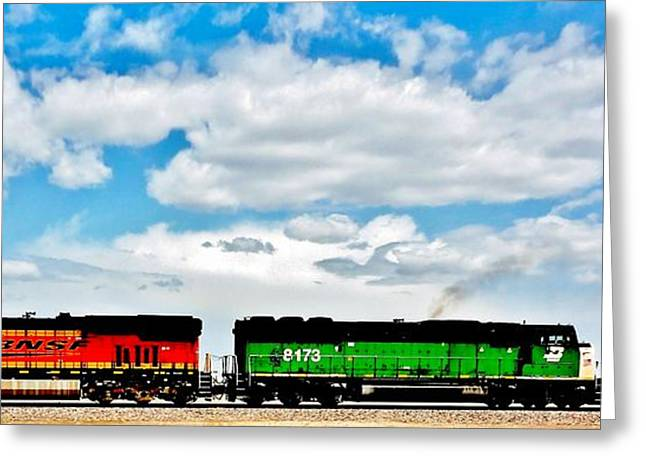 Burlington Northern Greeting Cards - Rolling Through New Mexico Greeting Card by Benjamin Yeager