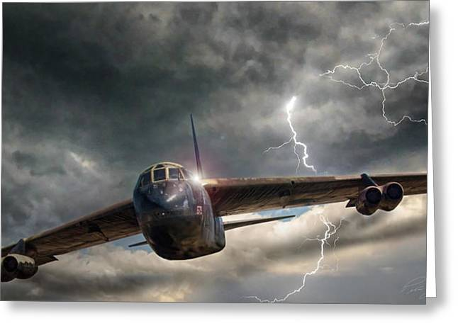 Boeing Greeting Cards - Thundering B-52 Greeting Card by Peter Chilelli