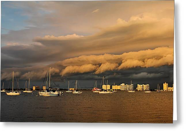 Blue Sailboats Greeting Cards - Rolling Thunder Greeting Card by HH Photography
