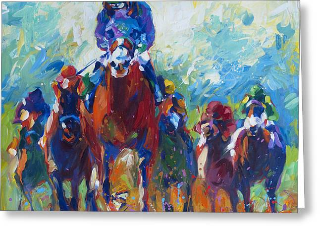Impressionistic Equine Art Greeting Cards - Rolling Thunder Greeting Card by Lisa Palombo