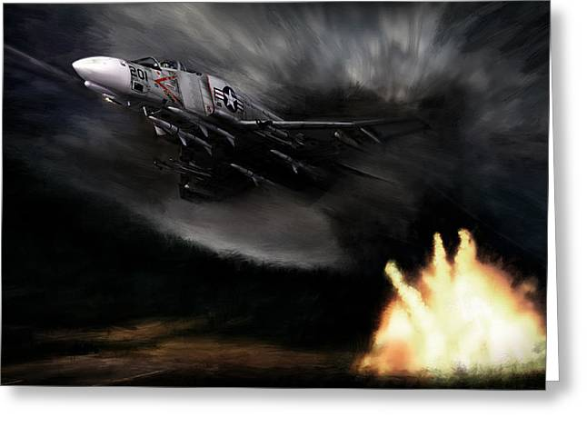 Raid Greeting Cards - Rolling Thunder Greeting Card by Peter Chilelli