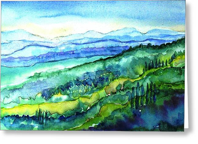 The Uffizi Greeting Cards - Rolling Tuscan Landscape Greeting Card by Trudi Doyle