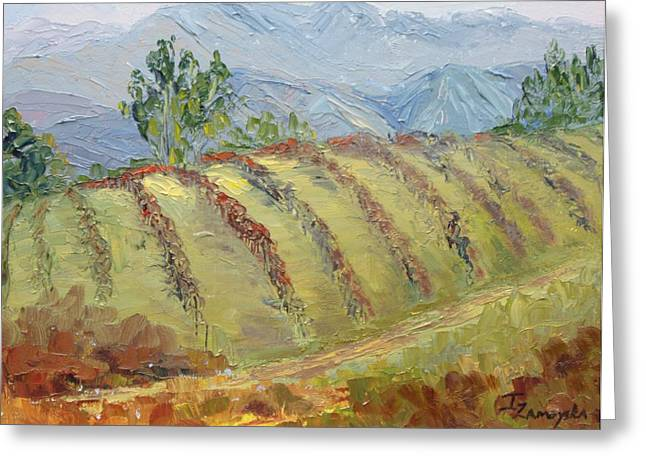 Viticulture Paintings Greeting Cards - Rolling Vineyard Greeting Card by Inka Zamoyska