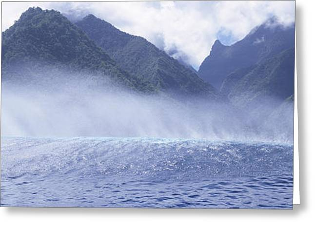 Strength Photographs Greeting Cards - Rolling Waves And Mountains, Tahiti Greeting Card by Panoramic Images