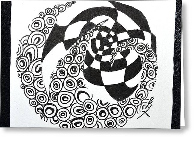 Yang Drawings Greeting Cards - Rolling Zen Greeting Card by Beverley Harper Tinsley