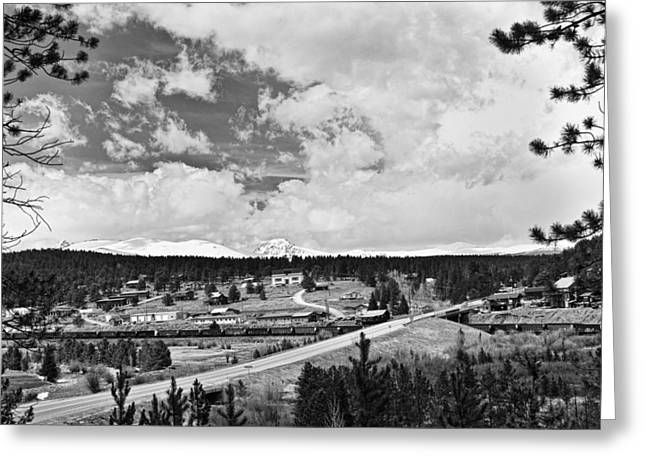 Hawk Creek Greeting Cards - Rollinsville Colorado Small Town 181 In Black and White Greeting Card by James BO  Insogna
