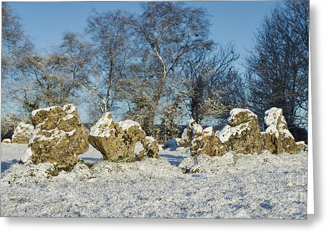 Bronze Age Greeting Cards - Rollright Stones in Winter Greeting Card by Tim Gainey