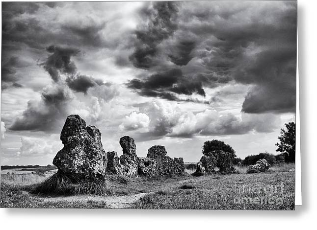 Storm Clouds Greeting Cards - Rollright Stones Greeting Card by Tim Gainey