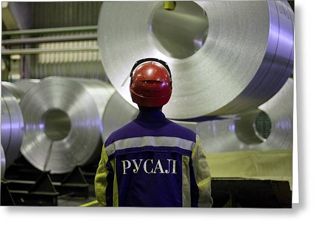 Metal Sheet Greeting Cards - Rolls of aluminium at a smelting plant Greeting Card by Science Photo Library