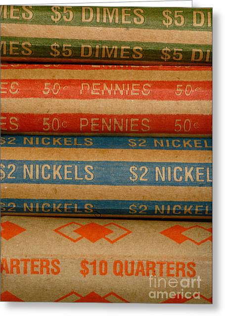 Loose Greeting Cards - Rolls of Coins Greeting Card by Amy Cicconi