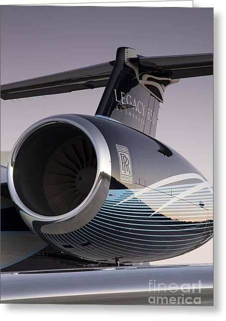 Roll Photographs Greeting Cards - Rolls-Royce AE 3007A2 on Embraer Legacy 650 Greeting Card by Dustin K Ryan