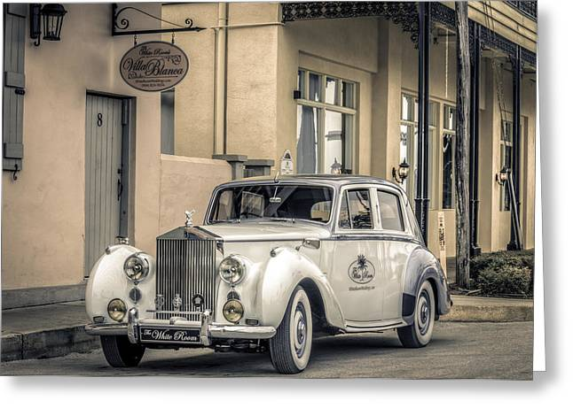 Rally Greeting Cards - Rolls Royce Aged Photo Greeting Card by Rob Sellers