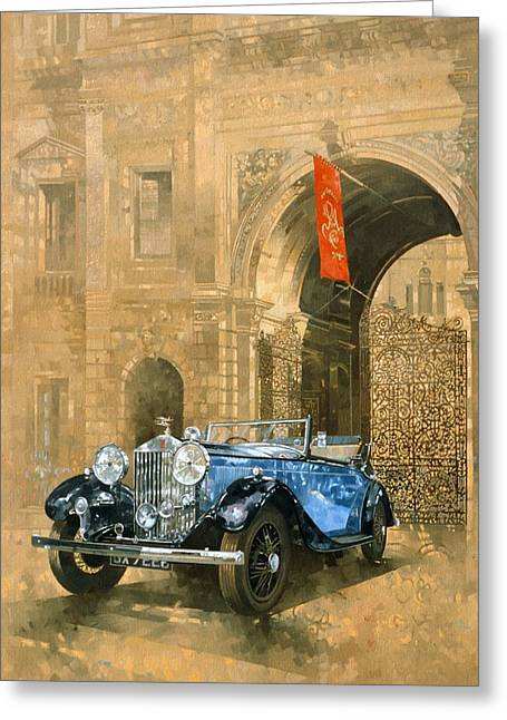 West End Greeting Cards - Rolls Royce At The Royal Academy Oil On Canvas Greeting Card by Peter Miller