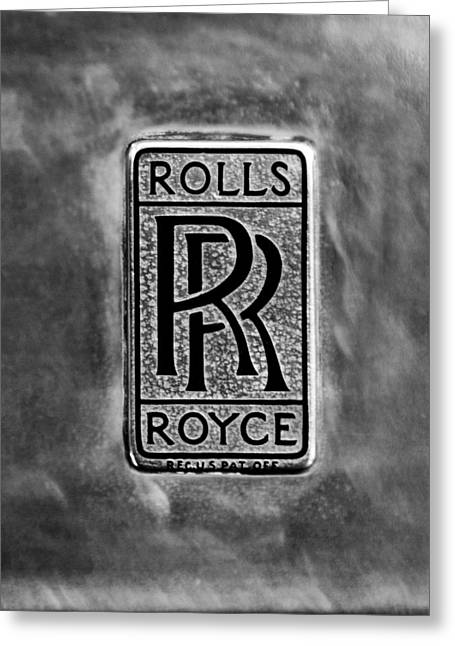 Roll Photographs Greeting Cards - Rolls-Royce Emblem -1801bw Greeting Card by Jill Reger