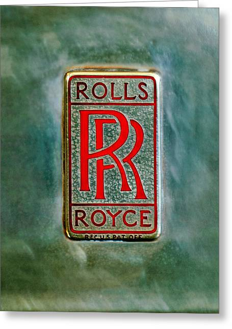 Roll Photographs Greeting Cards - Rolls-Royce Emblem -1801c Greeting Card by Jill Reger