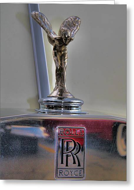 High Society Photographs Greeting Cards - Rolls Royce Hood Ornament Greeting Card by Dan Sproul