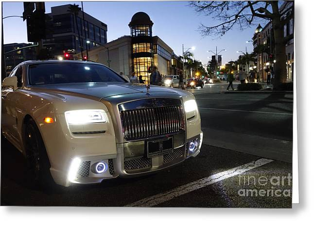 Nina Prommer Greeting Cards - Rolls Royce parked at the bottom of Rodeo Drive Greeting Card by Nina Prommer