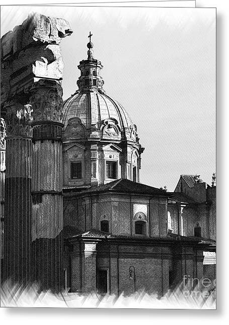 Europe Mixed Media Greeting Cards - Roma Black and White Greeting Card by Stefano Senise