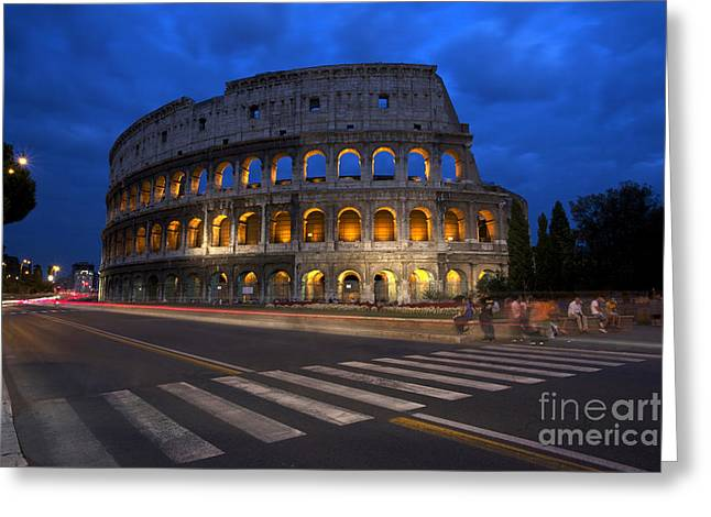 Blue Hour Greeting Cards - Roma di Notte - Rome by Night Greeting Card by Marco Crupi