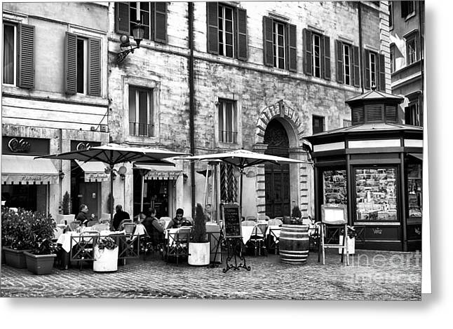 Italian Restaurant Greeting Cards - Roma Lunch Greeting Card by John Rizzuto