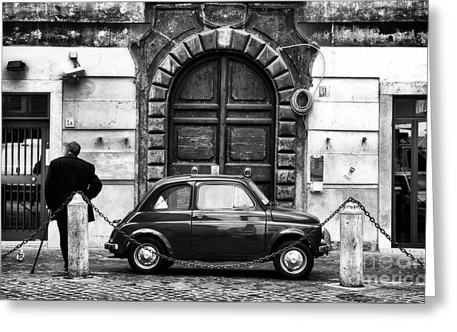 Interior Scene Photographs Greeting Cards - Roma Streets in black and white Greeting Card by John Rizzuto