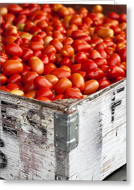 Fresh Food Greeting Cards - Roma Tomatoes At An Outdoor Market In Greeting Card by Ken Gillespie