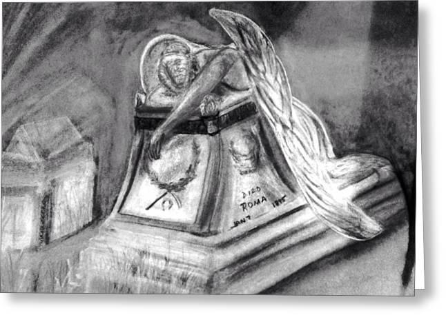 Cemetary Pastels Greeting Cards - Roma Weeping Angel Noir Greeting Card by Gino Didio