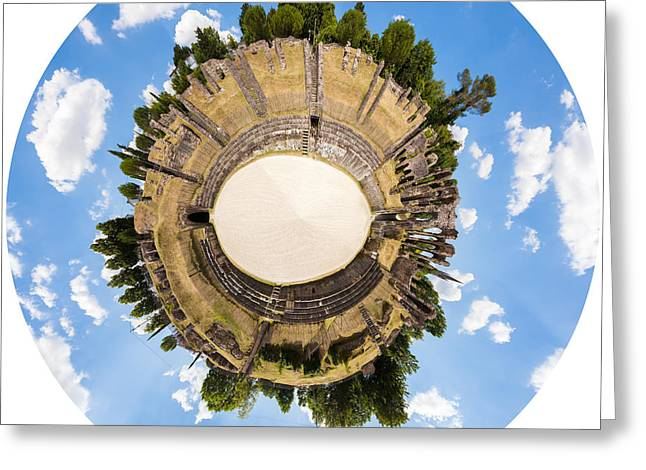 Outdoor Theater Greeting Cards - Roman amphitheatre in Saintes Greeting Card by Peter Noyce