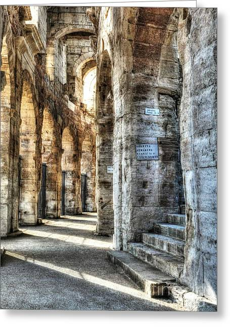 Ancient Ruins Greeting Cards - Roman Arena At Arles Greeting Card by Mel Steinhauer