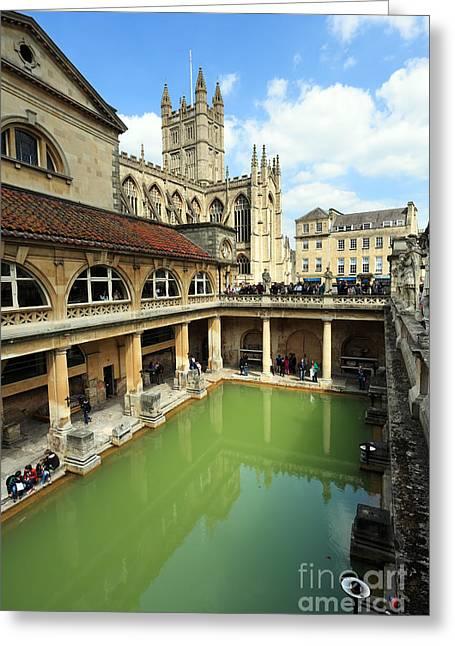 Interpretation Greeting Cards - Roman bath and Bath Abbey Greeting Card by Paul Cowan