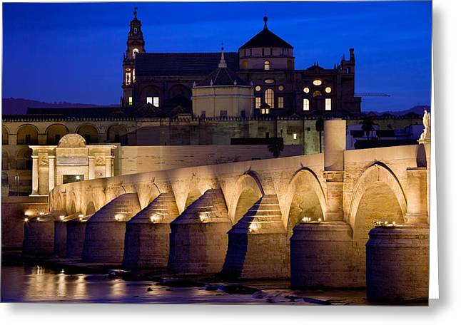 Cordoba Greeting Cards - Roman Bridge and Mezquita in Cordoba at Dawn Greeting Card by Artur Bogacki