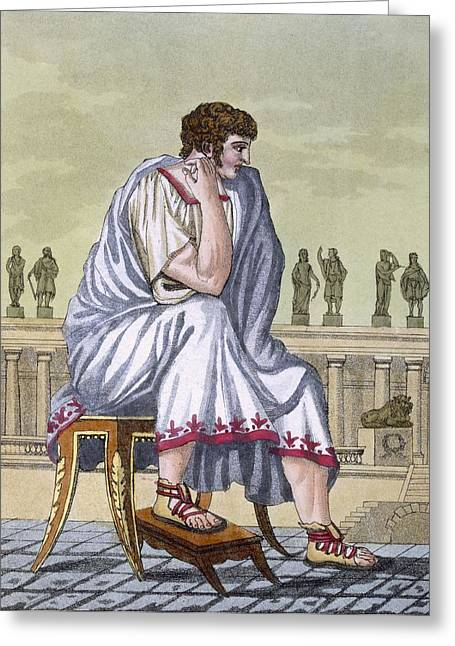 Pensive Drawings Greeting Cards - Roman Citizen, A Folio From Lantique Greeting Card by Jacques Grasset de Saint-Sauveur