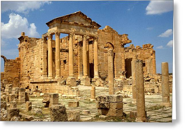 Ruins Photographs Greeting Cards - Roman City Of Sbeitla, Tunisia Photo Greeting Card by .