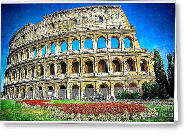 Fashion Design Drawings Greeting Cards - Roman Coliseum cityscape Greeting Card by Stefano Senise