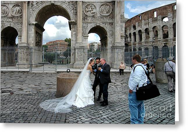 Bride To Be Greeting Cards - Roman Colosseum Bride and Groom Greeting Card by Mike Nellums