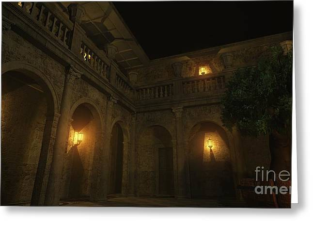 Night Lamp Greeting Cards - Roman Courtyard at Night Greeting Card by Fairy Fantasies
