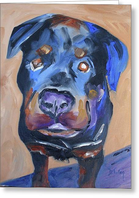 Puppies Paintings Greeting Cards - Roman Greeting Card by Donna Tuten
