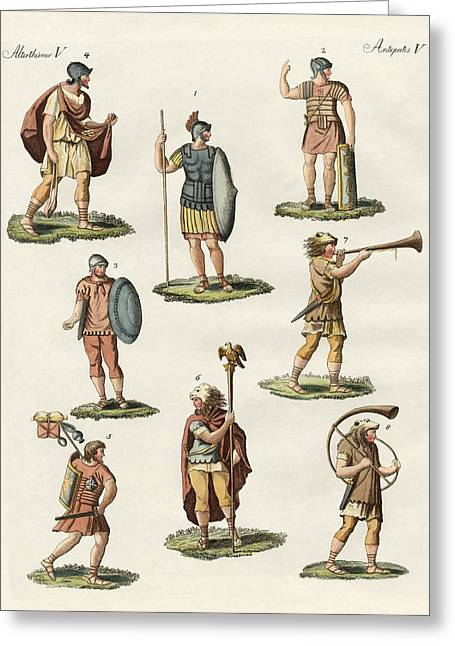 Mische Greeting Cards - Roman foot soldiers Greeting Card by Splendid Art Prints