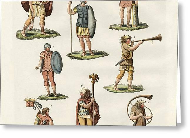 Roman foot soldiers Greeting Card by Splendid Art Prints