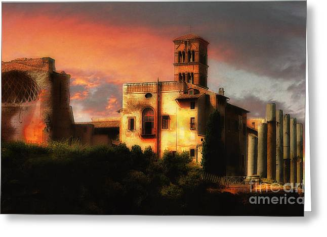 Mike Nellums Greeting Cards - Roman Forum at Sunset Greeting Card by Mike Nellums