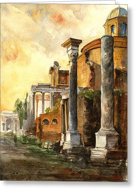 Art Roman Greeting Cards - Roman forum Greeting Card by Juan  Bosco