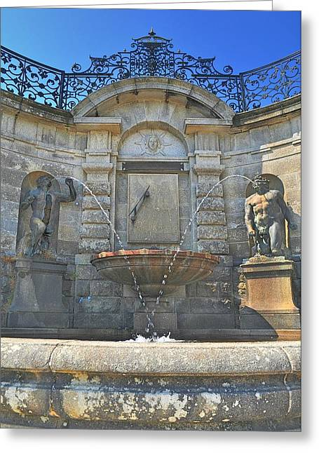 Water Garden Sculptures Greeting Cards - Roman Fountain Greeting Card by Barry Lennon