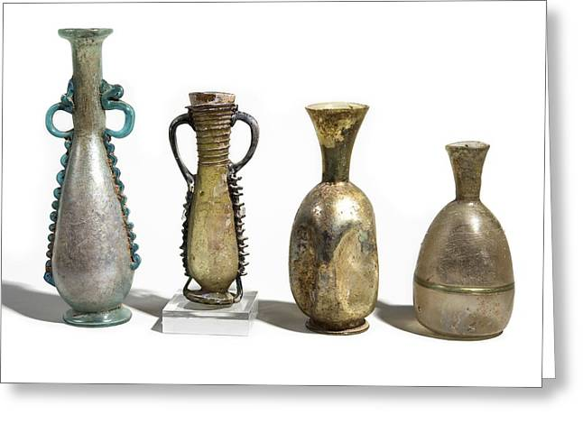 Glass Vase Greeting Cards - Roman Glass amphoras Greeting Card by Science Photo Library