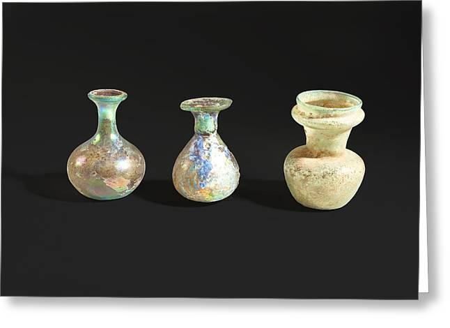 Roman Glass Bottles And Jar Greeting Card by Science Photo Library