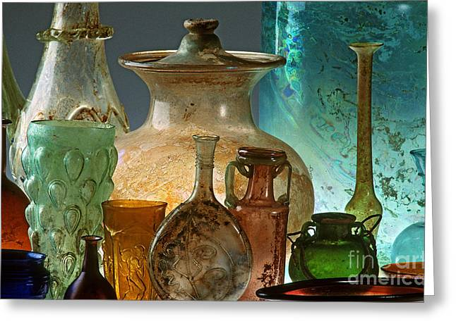 Roman Vase Greeting Cards - Roman Glass Greeting Card by James L. Amos