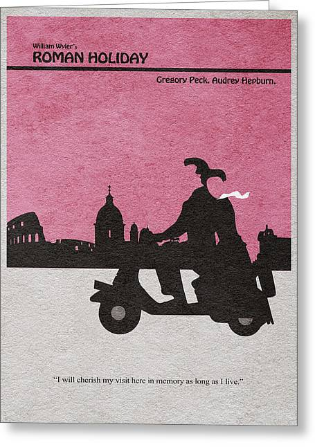 Retro Typography Greeting Cards - Roman Holiday Greeting Card by Ayse Deniz