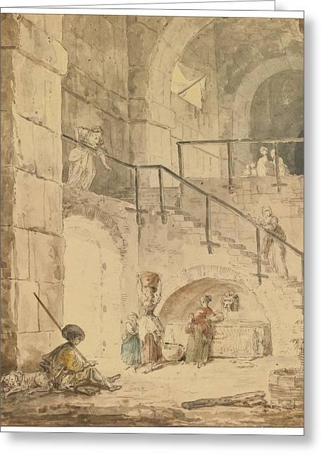 Robert; Hubert (1733-1808) Greeting Cards - Roman Interior With A  Fountain Greeting Card by Hubert Robert