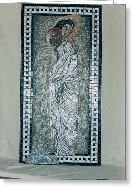 Young Lady Ceramics Greeting Cards - Roman Lady Greeting Card by Pj Flagg Tongue in Chic